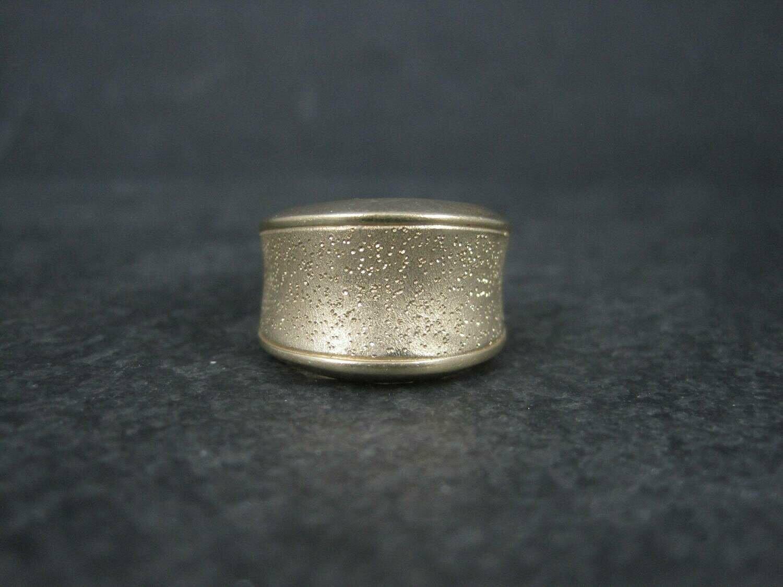 Wide Vintage 18K Vermeil Sterling Textured Ring Charles Garnier Size 7