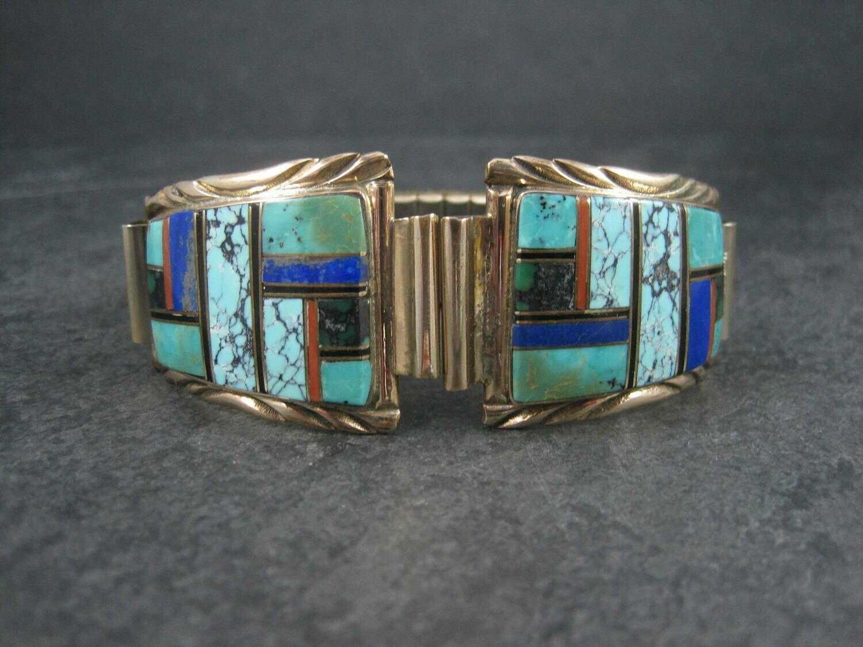 Vintage Navajo Turquoise Inlay Watch Tips Arlene Yazzie