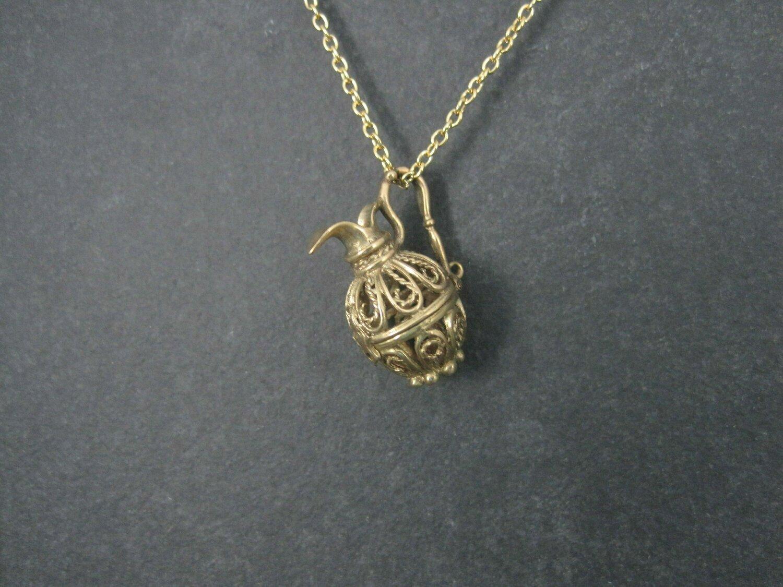 Vintage 9K Filigree Water Pitcher Pendant Necklace