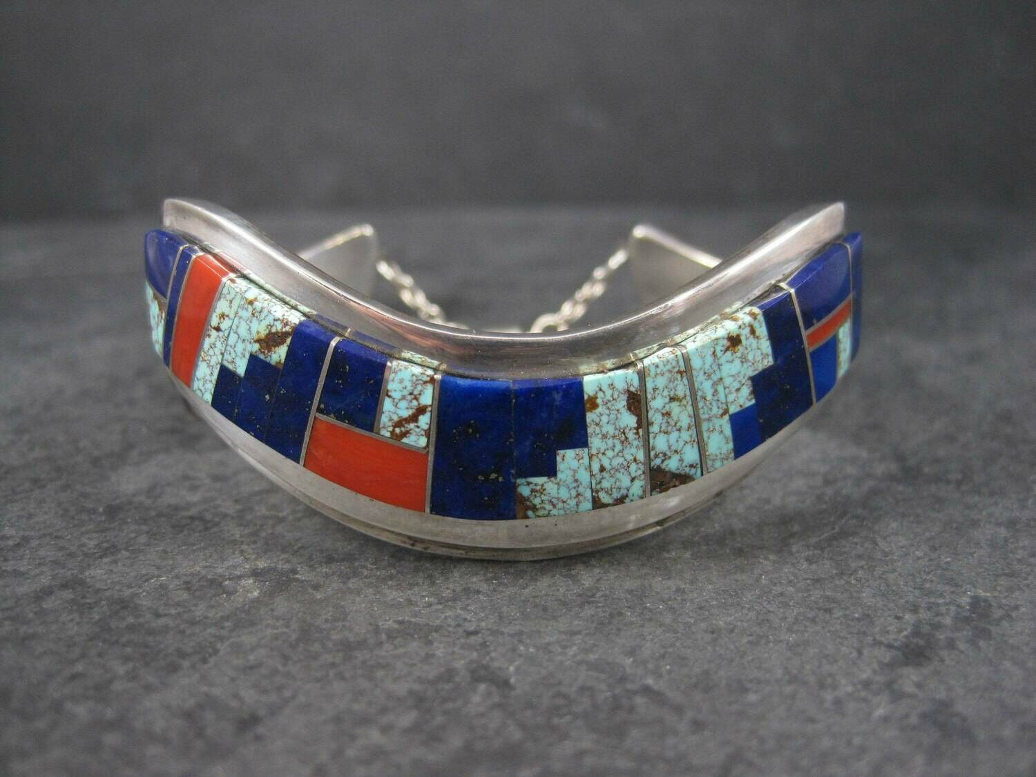Vintage Navajo Lapis Coral Turquoise Inlay Cuff Bracelet 6 Inches Muskett