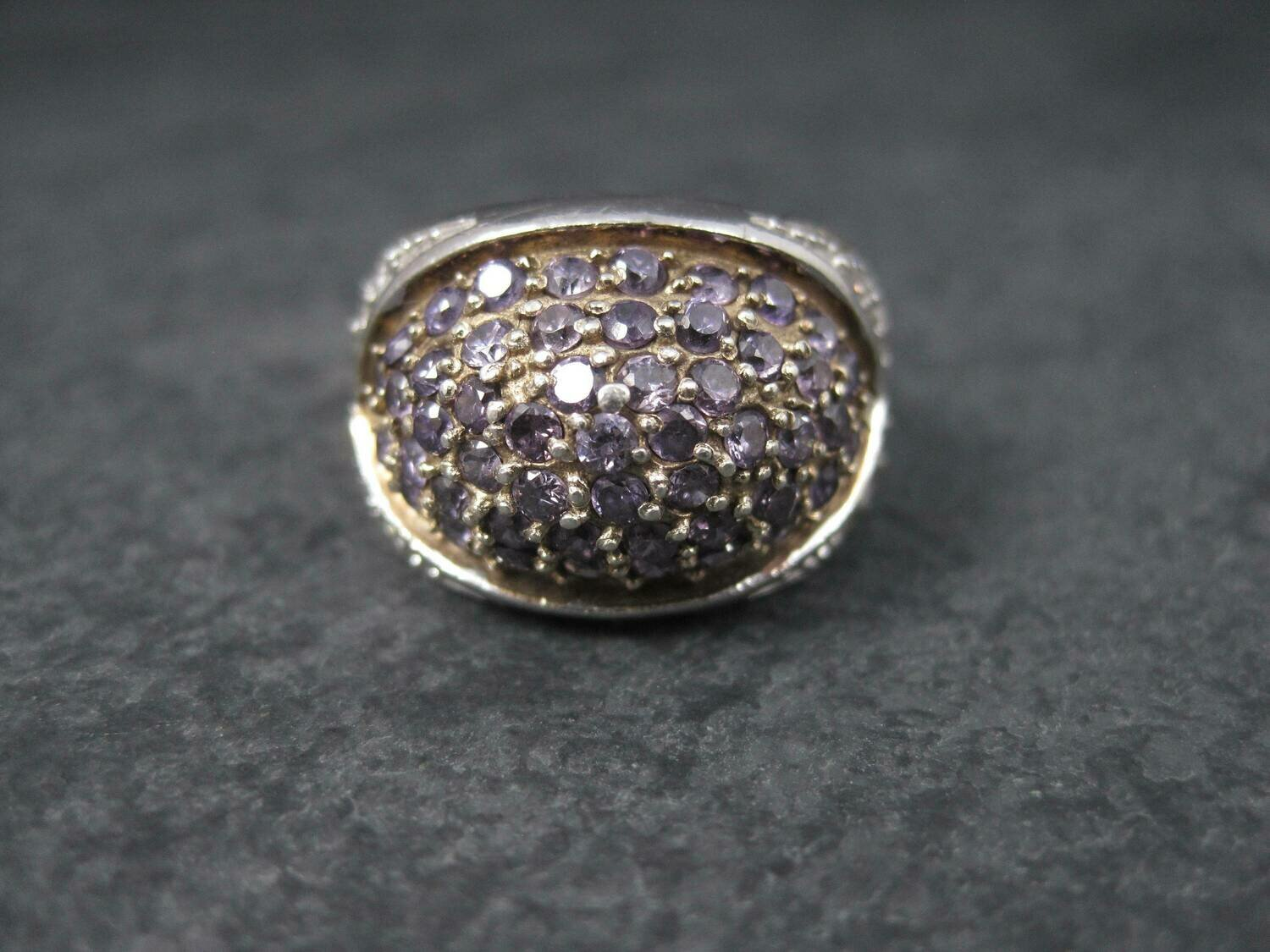 Amethyst Dome Ring Sterling Size 7