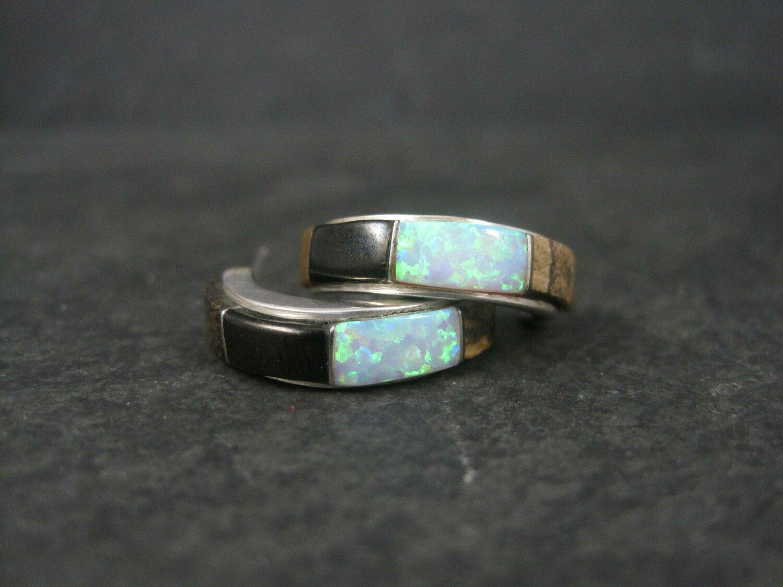 Vintage Southwestern Gemstone Inlay Half Hoop Earrings