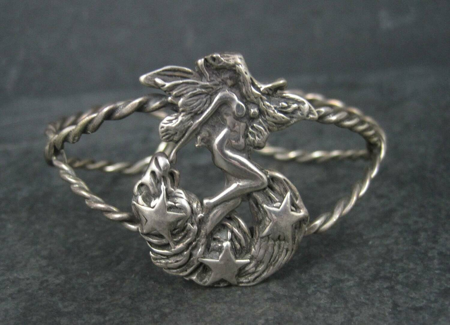 Vintage Sterling Nude Fairy Goddess Cuff Bracelet 6.25 Inches