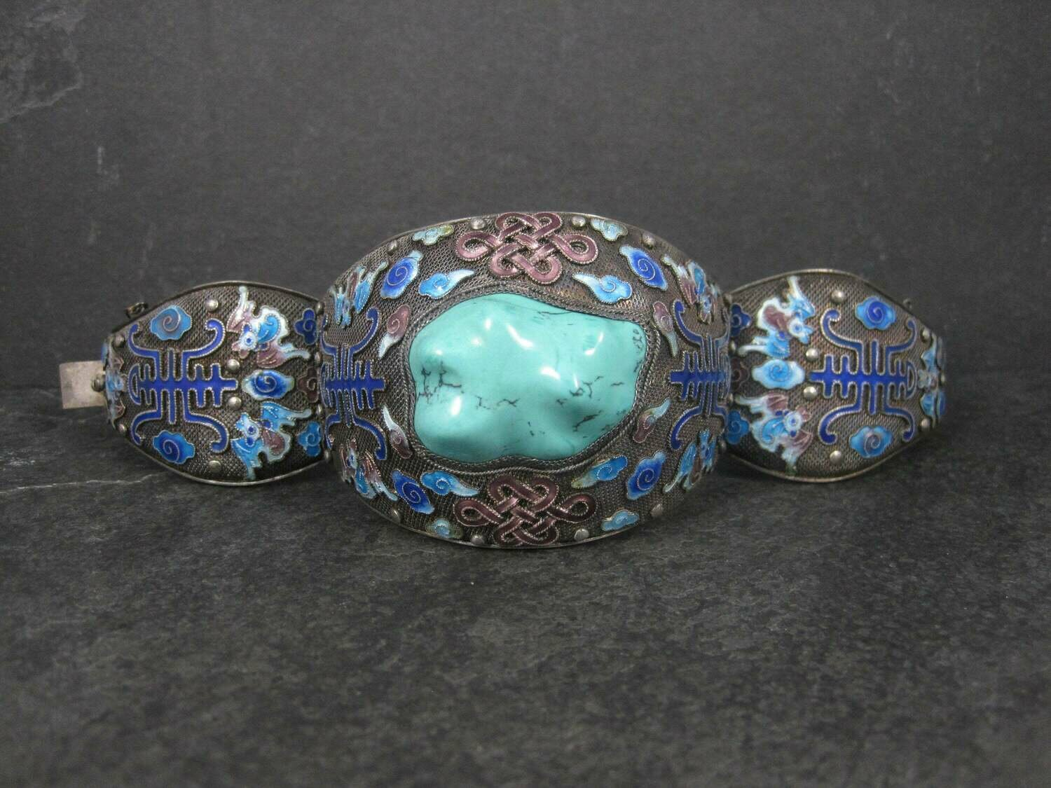 Vintage Sterling Chinese Turquoise Enamel Cloud Knotwork Bat Bracelet 7 Inches