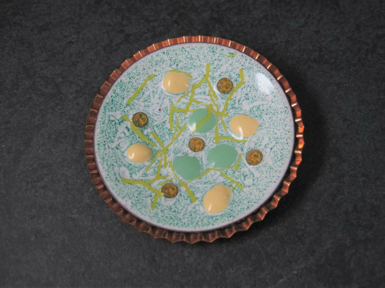 Large Copper Enamel Modernist Brooch