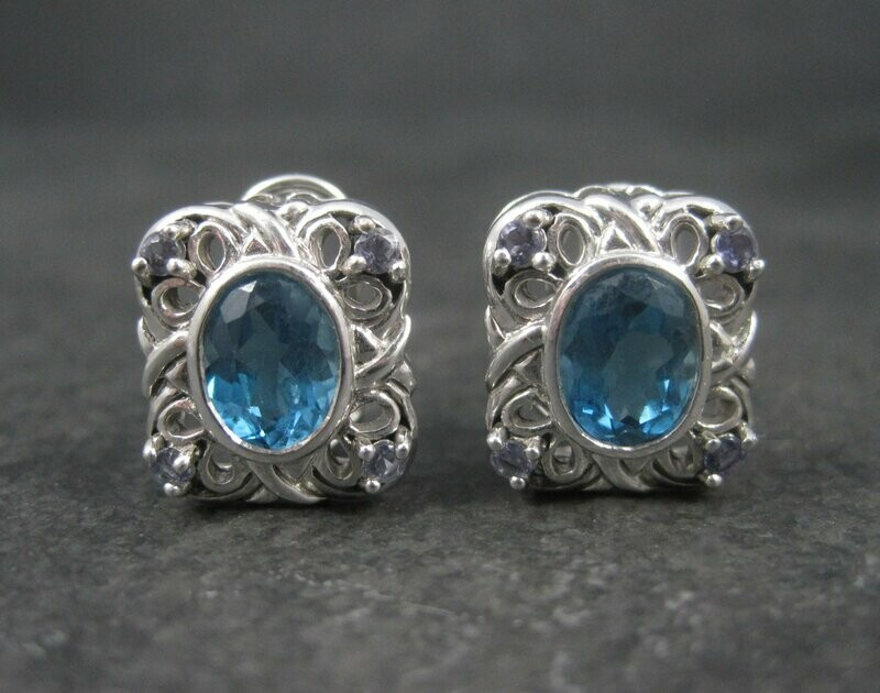 Vintage 90s 10K White Gold Blue Topaz Iolite French Back Earrings