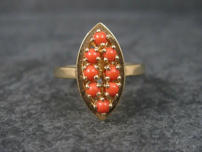 Vintage 14K Coral Ring Size 6.25