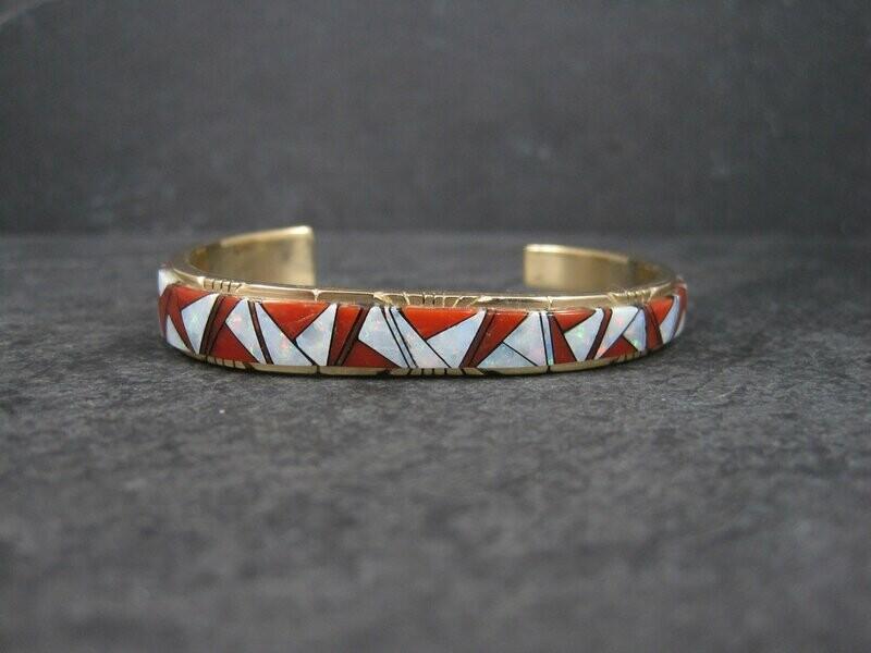 14K Coral Opal Inlay Cuff Bracelet 5.75