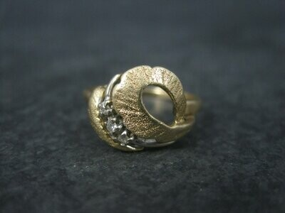 Vintage 14K Diamond Feather Ring Size 6.25