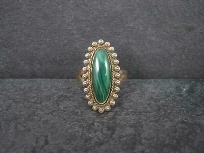 Southwestern Malachite Ring 12K Gold Filled Size 7