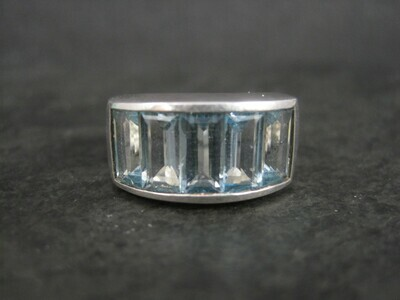Sterling 5 Carat Blue Topaz Ring Size 7