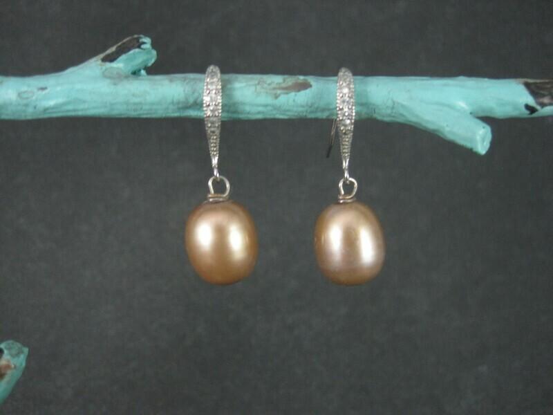 Sterling Brown Cultured Pearl Diamond Earrings