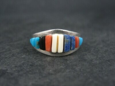 Vintage Southwestern Sterling Raised Inlay Ring Size 7