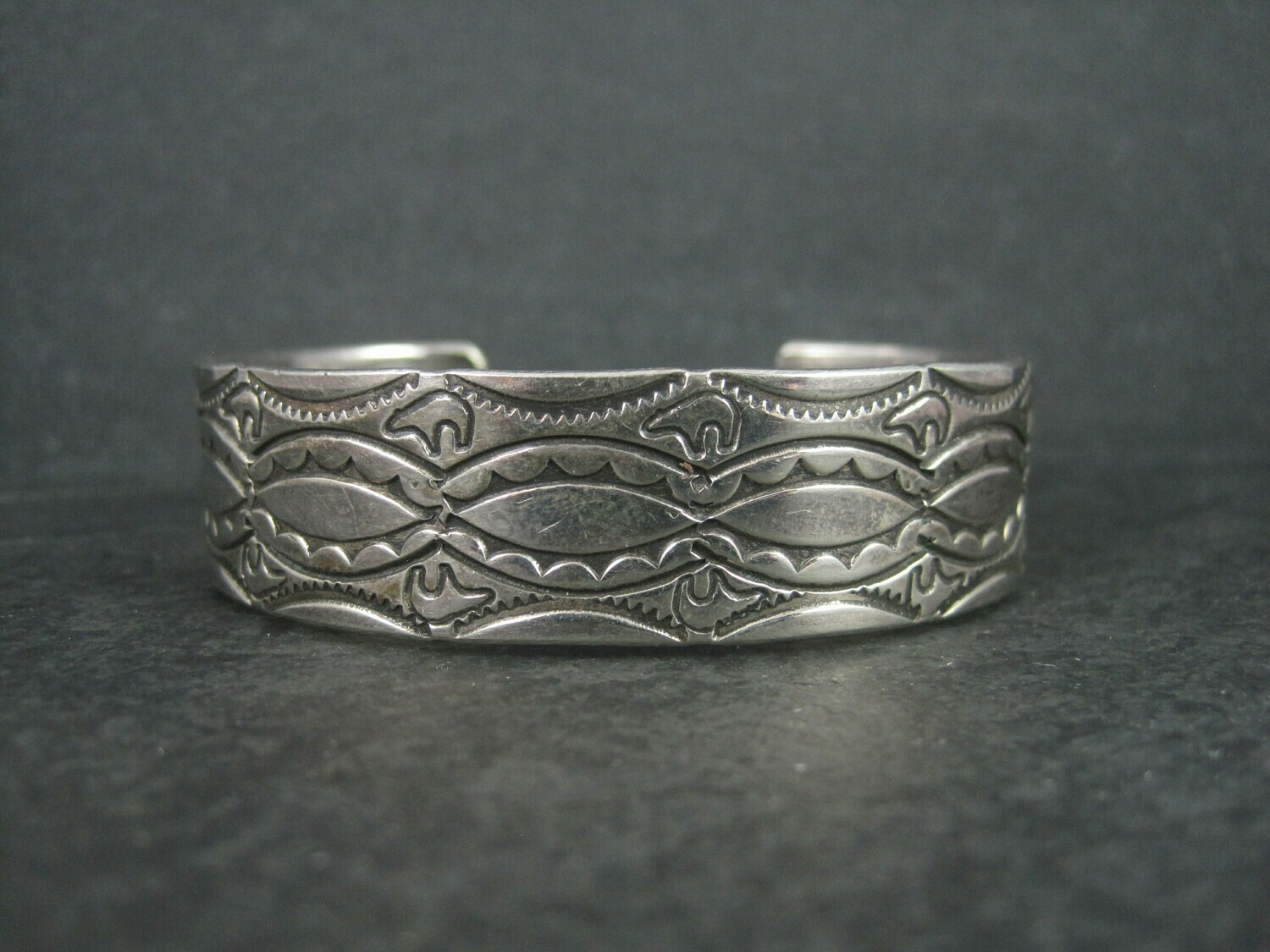 Southwestern Sterling Spirit Bear Cuff Bracelet 6.75 Inches