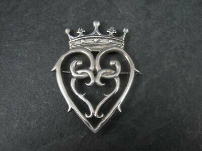 Hand & Hammer Sterling Silver Heart Crown Brooch Pendant