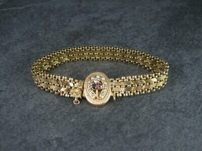Antique 14K Sapphire Ruby Seed Pearl Bracelet