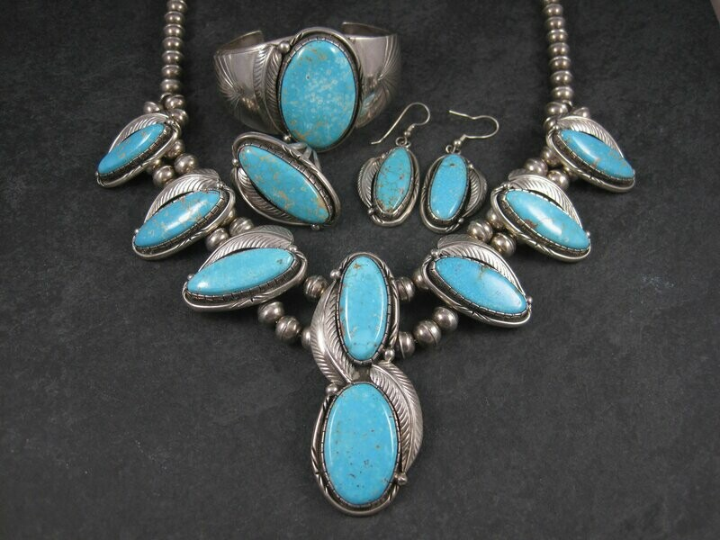 Vintage Navajo Turquoise Jewelry Set Fred Guerro Squash Blossom Cuff Bracelet Ring Earrings