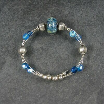 Blue Art Glass Wrap Bracelet 6-7 Inches