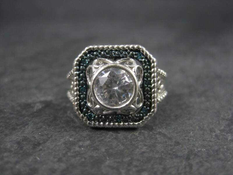Chunky Cubic Zirconia Blue Diamond Cocktail Halo Ring Size 9