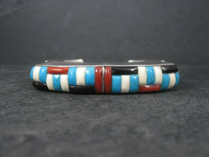 Huge Vintage Square Navajo Turquoise Coral Inlay Cuff Bracelet 6.75 Inches