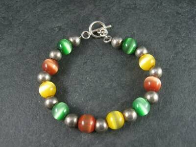 Chunky Vintage Sterling Cats Eye Bead Toggle Bracelet 7.5 Inches