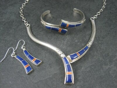 Vintage Southwestern Lapis Coral Inlay Jewelry Set Necklace Cuff Bracelet and Earrings
