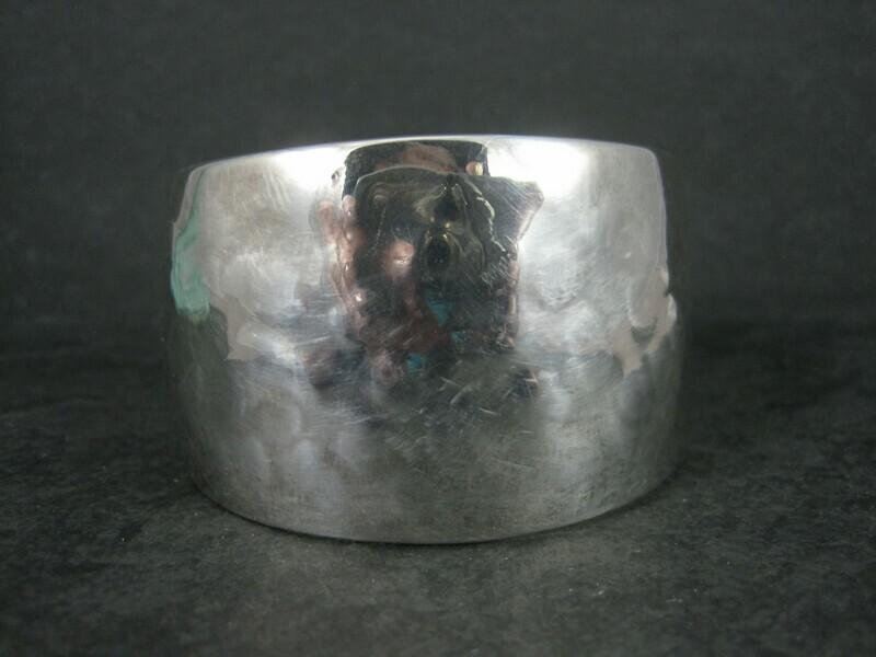 Vintage Hammered Sterling Cuff Bracelet 6 Inches