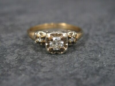 Dainty Vintage 14K Diamond Engagement Ring Size 5.5