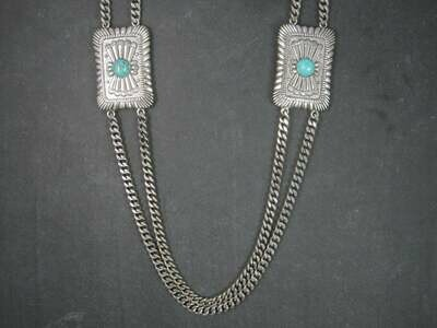 Heavy Southwestern Faux Turquoise Necklace 33 Inches