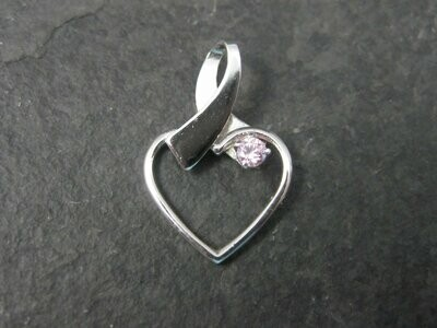 Dainty Vintage Sterling Pink Cz Heart Pendant