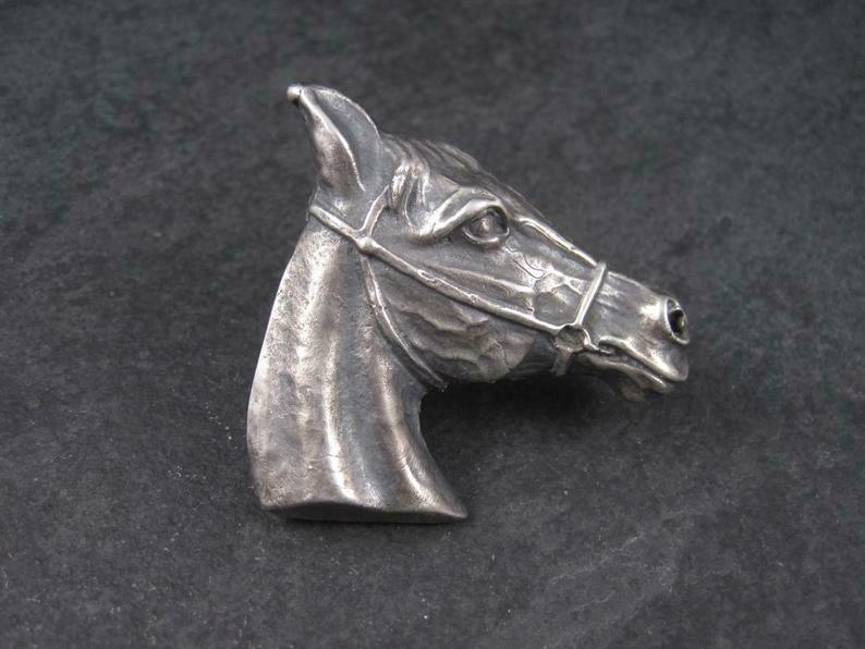Huge Vintage Southwestern Sterling Horse Head Ring Size 9