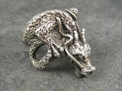 Huge Vintage Sterling Dragon Ring Size 10