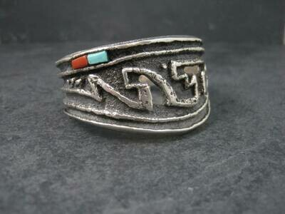 Heavy Vintage Tufa Cast Turquoise Coral Cuff Bracelet 6.25 Inches