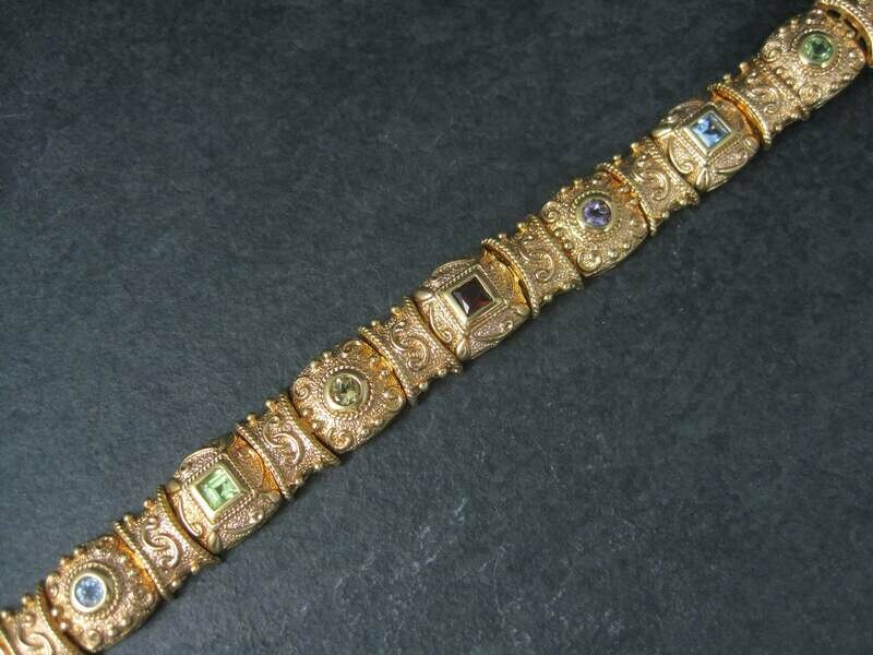 Heavy Vintage Vermeil Sterling Gemstone Bracelet 7 Inches