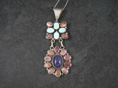 Navajo Turquoise Spiny Oyster Sugilite Cluster Pendant