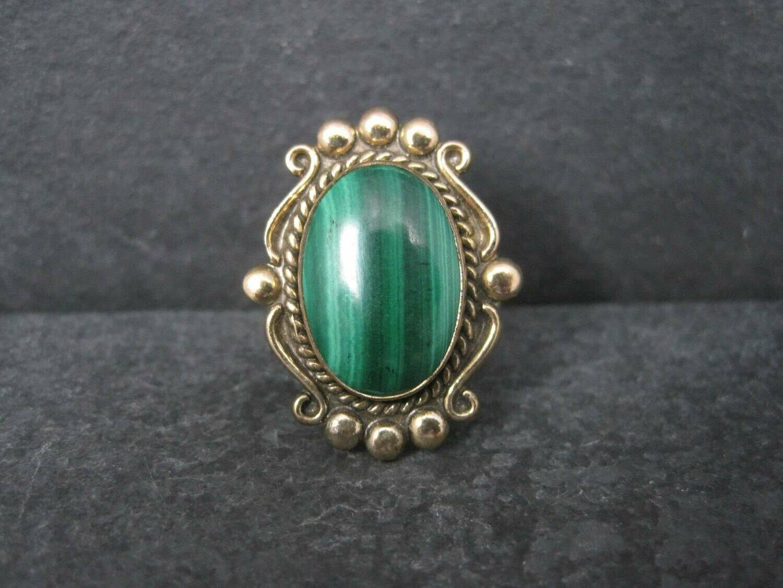 Vintage 12K GF Southwestern Malachite Ring Size 8