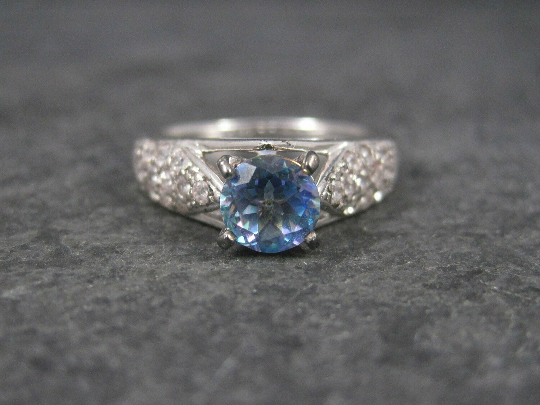 Blue Mystic Topaz Engagement Ring Sz 9