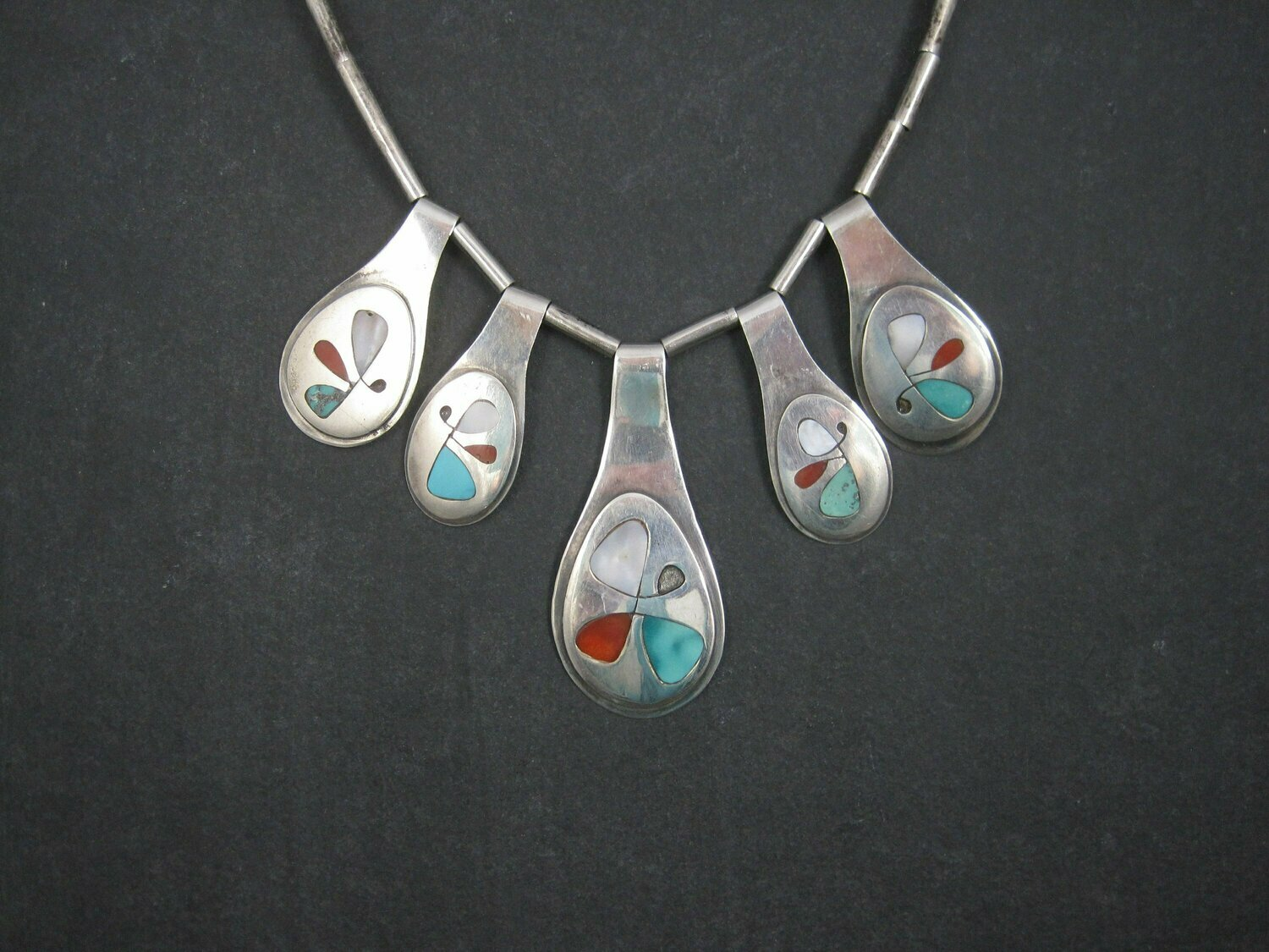 Vintage Southwestern Sterling Inlaid Butterfly Necklace