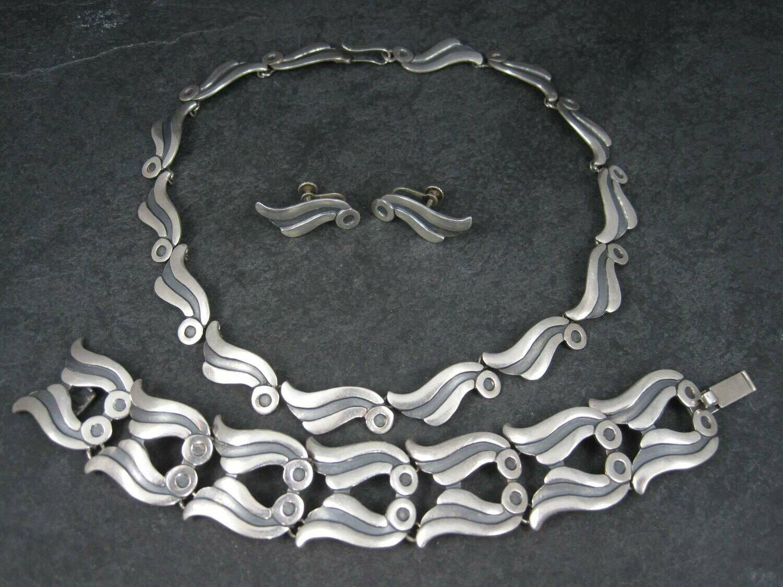 Vintage Mexican Sterling Necklace Bracelet Earrings Jewelry Set Pedro Castillo
