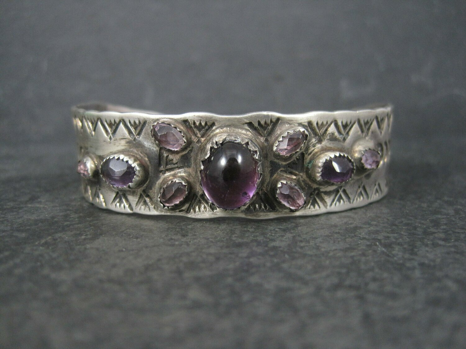 Vintage Southwestern Sterling Amethyst Cuff Bracelet 6.5 Inches