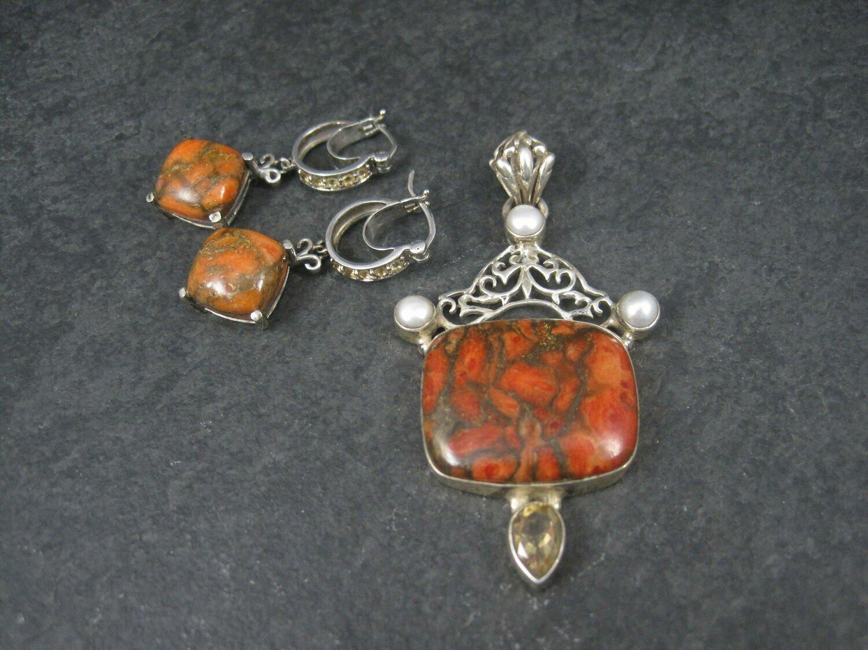 Orange Mohave Turquoise Citrine Pendant Earrings Jewelry Set