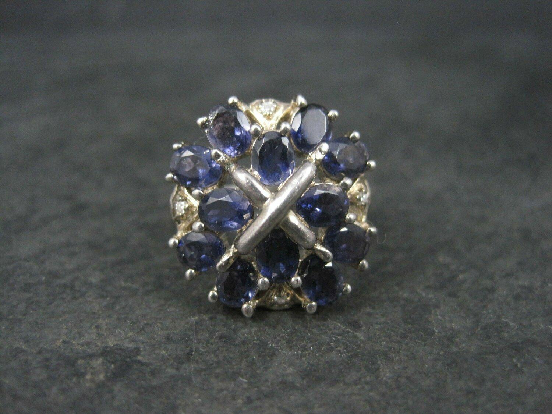 Vintage Sterling 3 Carat Iolite X Ring Size 8