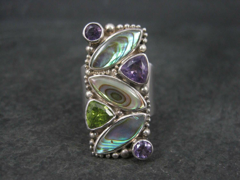 Vintage Sajen Sterling Abalone Amethyst Peridot Ring Size 7
