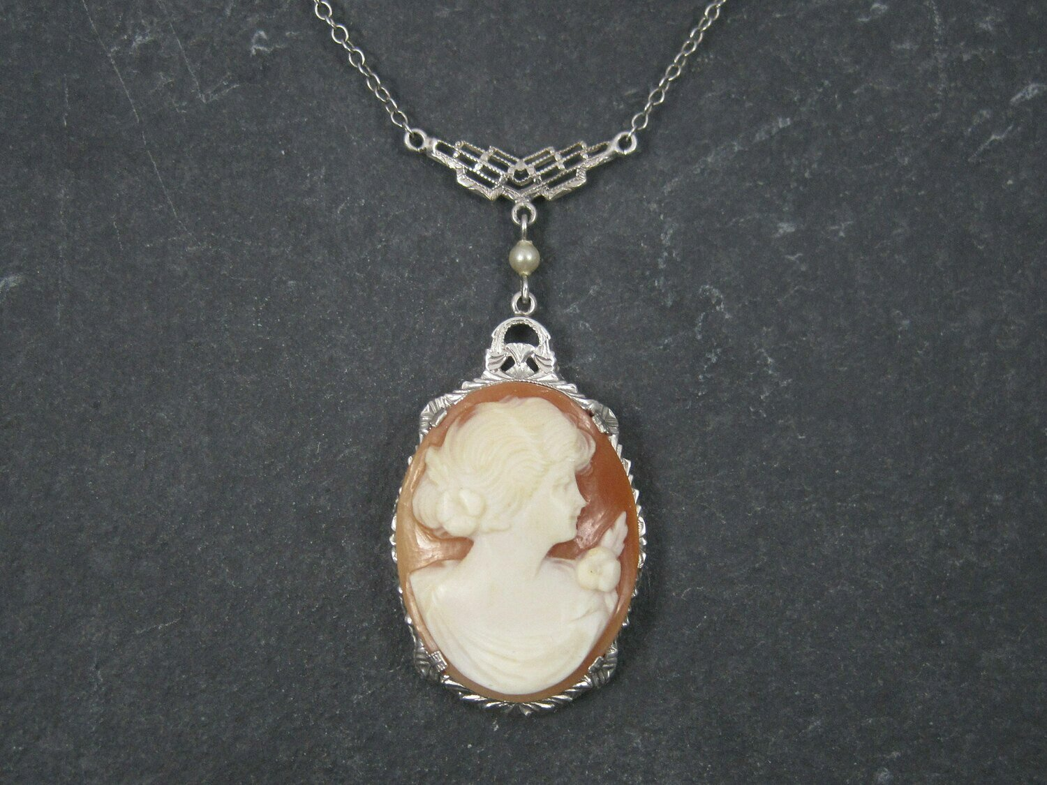 Antique 10K Art Deco Carved Cameo Necklace Choker 13 Inches