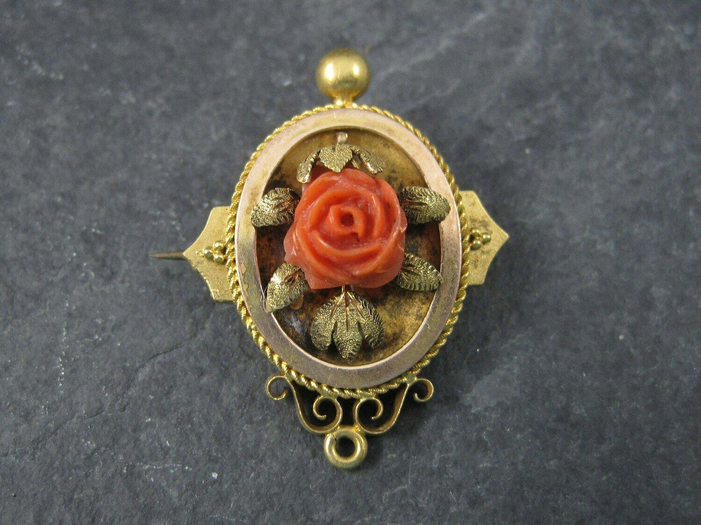 Antique Victorian 14K Coral Rose Brooch Pendant