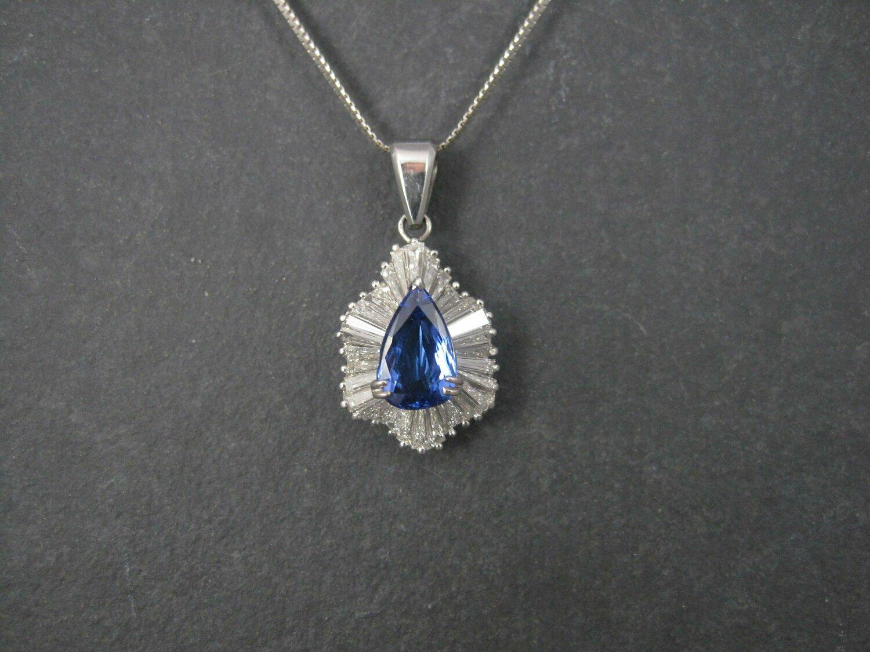 Exceptional Vintage 14K 5.55 Carat Diamond Tanzanite Pendant