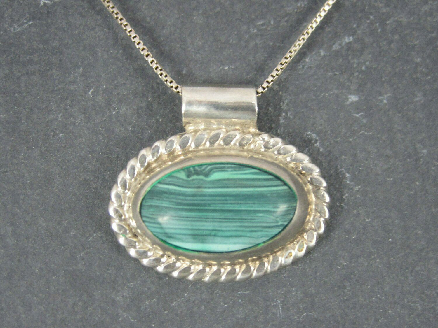 Vintage Mexican Sterling Malachite Pendant Necklace