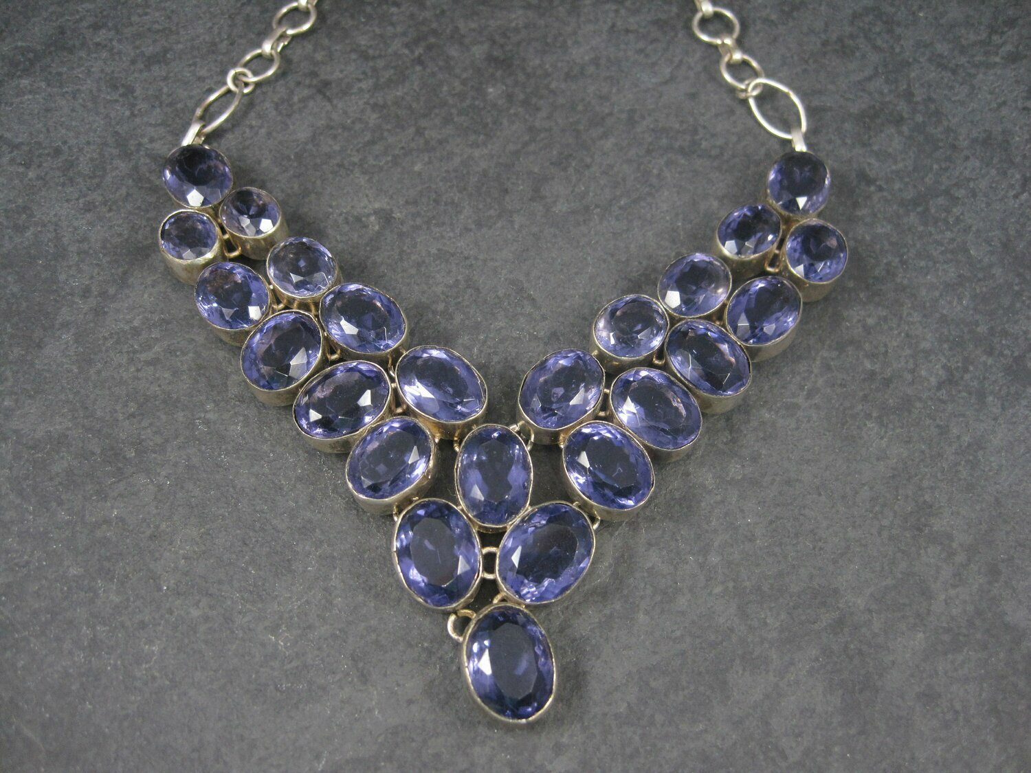 Vintage Amethyst Glass Necklace Silver Plated Bib