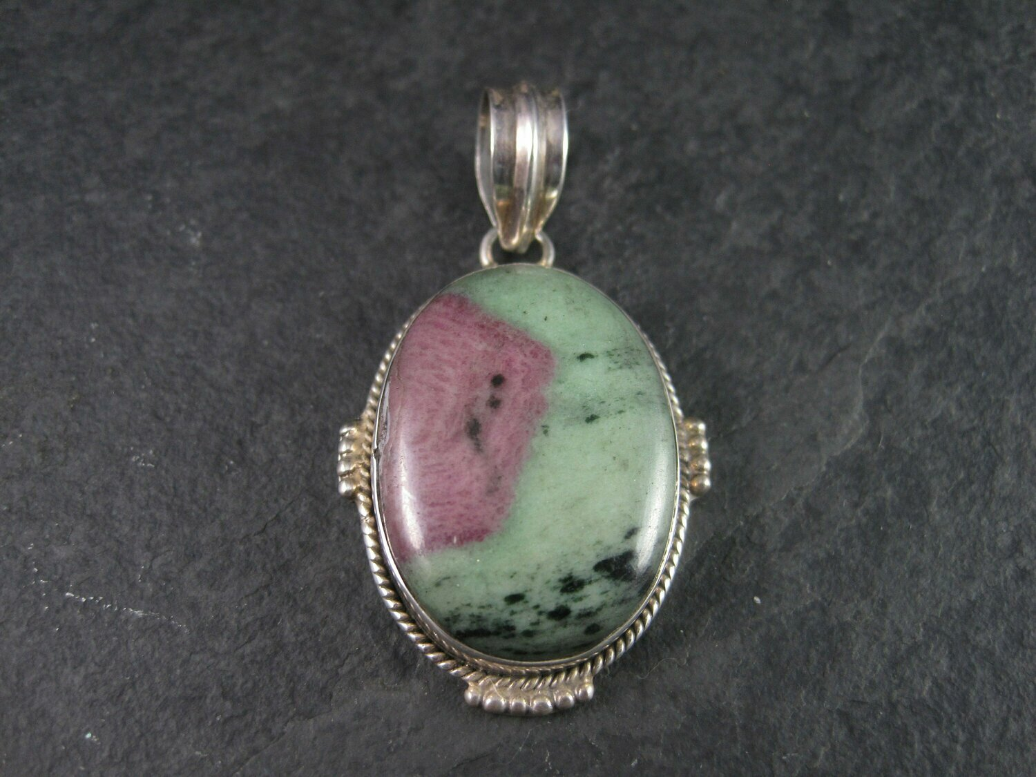 Large Sterling Ruby Zoisite Pendant