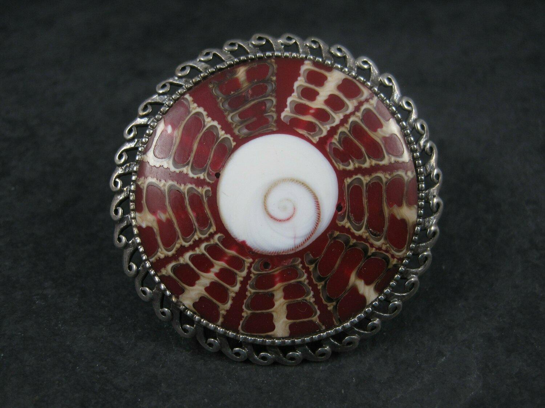 Huge Vintage Sterling Red Shell Ring Size 7.5